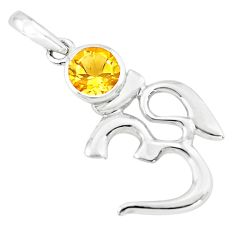 2.43cts natural yellow citrine 925 sterling silver om symbol pendant p73729