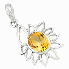 4.06cts natural yellow citrine 925 sterling silver pendant jewelry p62648