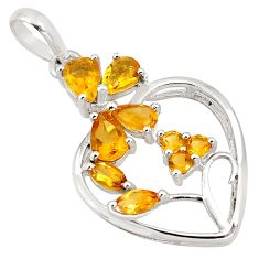 7.49cts natural yellow citrine 925 sterling silver pendant jewelry p82046