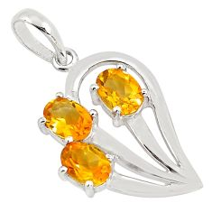 4.52cts natural yellow citrine 925 sterling silver pendant jewelry p82062
