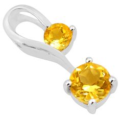 1.78cts natural yellow citrine 925 sterling silver pendant jewelry p82093