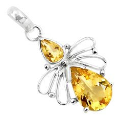 4.54cts natural yellow citrine 925 sterling silver pendant jewelry p82463