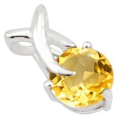 3.02cts natural yellow citrine 925 sterling silver pendant jewelry p82546