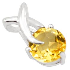 2.94cts natural yellow citrine 925 sterling silver pendant jewelry p82547