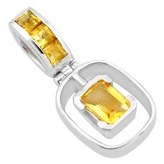 2.56cts natural yellow citrine 925 sterling silver pendant jewelry p83745