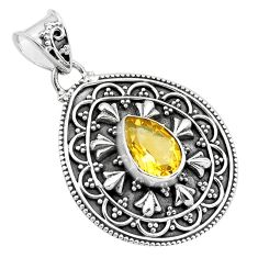 2.85cts natural yellow citrine 925 sterling silver pendant jewelry p86291