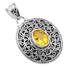 2.76cts natural yellow citrine 925 sterling silver pendant jewelry p86332