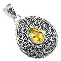 2.76cts natural yellow citrine 925 sterling silver pendant jewelry p86333