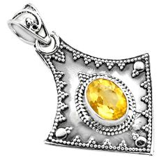 3.19cts natural yellow citrine 925 sterling silver pendant jewelry p86356