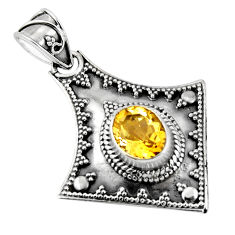 3.10cts natural yellow citrine 925 sterling silver pendant jewelry p90229
