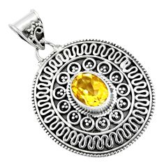 3.15cts natural yellow citrine 925 sterling silver pendant jewelry p90245