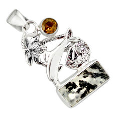 6.84cts natural yellow dendritic quartz 925 silver dolphin pendant p79522