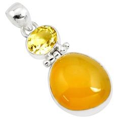 15.55cts natural yellow opal citrine 925 sterling silver pendant jewelry p42561