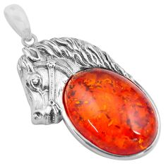 18.86cts orange amber 925 sterling silver horse pendant jewelry c4352