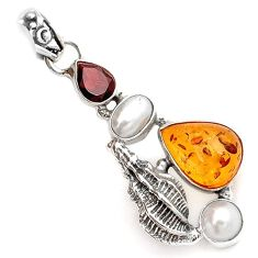 ORANGE AMBER GARNET PEARL 925 STERLING SILVER SNAIL SHELL PENDANT JEWELRY A1525