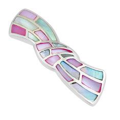3.89gms pink pearl enamel 925 sterling silver earrings jewelry c3063