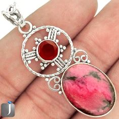 14.37cts PINK RHODONITE ONYX 925 STERLING SILVER PENDANT JEWELRY E7597