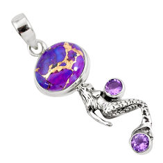 10.23cts purple copper turquoise 925 silver fairy mermaid pendant p55134