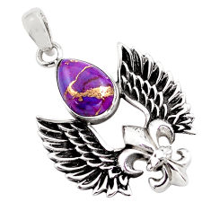 5.38cts purple copper turquoise 925 silver feather charm pendant jewelry p86852