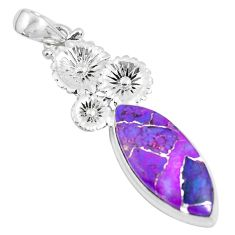 15.05cts purple copper turquoise 925 sterling silver flower pendant d31255