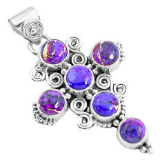 7.86cts purple copper turquoise 925 sterling silver holy cross pendant p35997