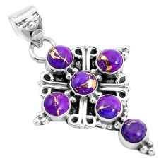 5.11cts purple copper turquoise 925 sterling silver holy cross pendant p36016