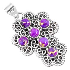 4.93cts purple copper turquoise 925 sterling silver holy cross pendant p59913