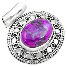 9.44cts purple copper turquoise 925 sterling silver pendant jewelry p86561