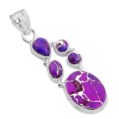 13.67cts purple copper turquoise 925 sterling silver pendant jewelry p89163