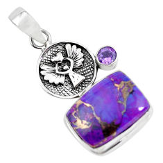 15.26cts purple copper turquoise amethyst 925 silver eagle charm pendant p55421