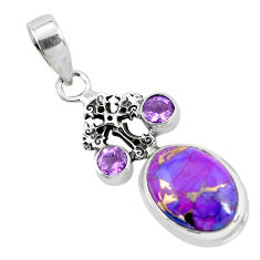 10.01cts purple copper turquoise amethyst 925 silver holy cross pendant p55131