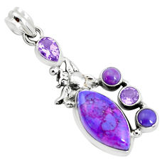 15.16cts purple copper turquoise amethyst 925 sterling silver owl pendant p37586