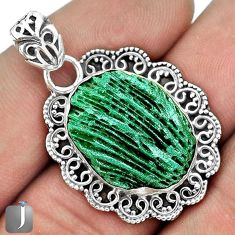 RARE ATTRACTIVE GREEN CARDITA SHELL 925 STERLING SILVER PENDANT JEWELRY G31694