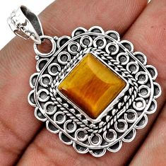 RARE NATURAL BROWN TIGERS EYE SQUARE 925 STERLING SILVER PENDANT JEWELRY G83946