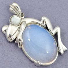 RARE NATURAL WHITE OPALITE PEARL 925 STERLING SILVER FROG PENDANT JEWELRY H39932