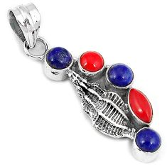Red blood coral lapis 925 sterling silver conch shell pendant jewelry h69043