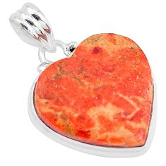 16.54cts red copper turquoise 925 sterling silver heart pendant jewelry p40422