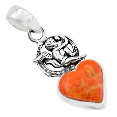 9.67cts red copper turquoise heart 925 silver cupid angel wings pendant p55425