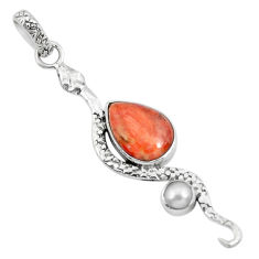 6.39cts red copper turquoise pear pearl 925 sterling silver snake pendant p49146