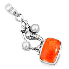 10.04cts red copper turquoise pearl 925 silver fairy mermaid pendant p55111