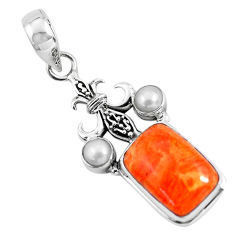 10.70cts red copper turquoise pearl 925 sterling silver pendant jewelry p55116