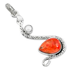 6.53cts red copper turquoise pearl 925 sterling silver snake pendant p49111