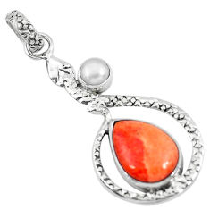 6.54cts red copper turquoise pearl 925 sterling silver snake pendant p49128