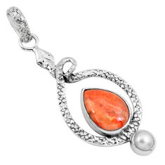 6.84cts red copper turquoise pearl 925 sterling silver snake pendant p49189