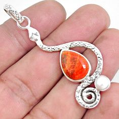 5.81cts red copper turquoise pearl 925 sterling silver snake pendant p49216