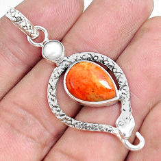 6.84cts red copper turquoise pearl 925 sterling silver snake pendant p49249