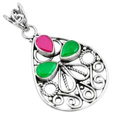 4.82cts red ruby (lab) emerald (lab) 925 sterling silver pendant jewelry d31186