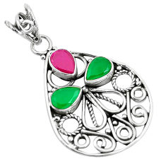 Clearance Sale- 4.61cts red ruby (lab) emerald (lab) 925 sterling silver pendant jewelry d31187