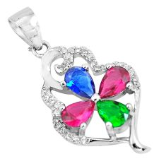 4.84cts red ruby (lab) emerald (lab) topaz 925 silver pendant jewelry c3519
