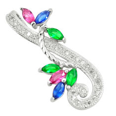 1.64cts red ruby (lab) emerald (lab) topaz 925 sterling silver pendant c3518
